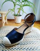 Sandały na koturnie espadryle na platformie z ekoskóry...