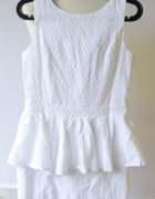 Sukienka NOWA Rare London M 38 Biała Ażurowa Baskinka...