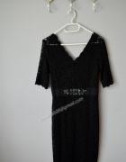 Sukienka czarna koronka nowa ozdobny pas 38...