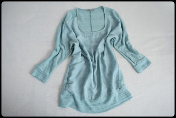 Bluzki Miętowa bluzka ze srebrną nitką rozmiar 40 L