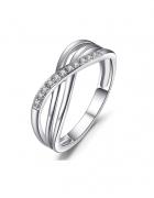 Nowy srebrny pierścionek elegancki cyrkonia oczka diamenciki...