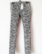 NOWE spodnie rurki zebra czarno białe emo rock punk...