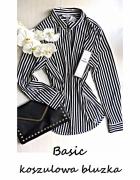 Nowa elegancka koszulowa bluzka w paski 44 46 basic minimalizm ...