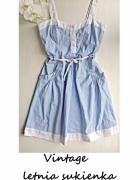 Letnia sukienka w paski vintage S M...