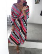Cena z przesyłką Pretty Little Thing sukienka midi multikolor paski wiązana w pasie plus size 42 44