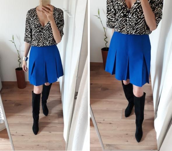 Spódnice Spódnica wysoki stan plisowana z zakładkami trapezowa niebieska 36