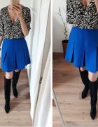 Spódnica wysoki stan plisowana z zakładkami trapezowa niebieska 36
