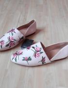 Zara nowe haftowane buty mokasyny...