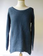 Sweter NOWY Granatowy Vero Moda L 40 Warkocze...