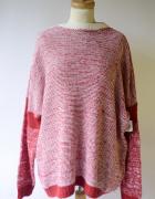 Sweter NOWY Oversize Melanż NOWY Asos L 40 Czerwony...