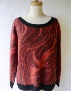 Sweter Nowy Wzory Moher NOWY S Oversize Czerwony...