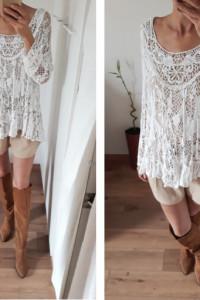 Made In Italy 100 wiskoza ażurowa tunika sukienka bluzka biała...