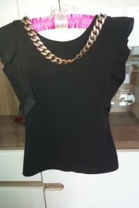 Czarna bluzka falbanki złoty łańcuch wycięte plecy XS 34