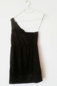 NOWA czarna sukienka Terranova brokatowa mini czarno złota