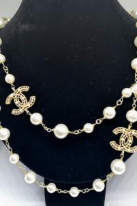 Eleganckie długie perły cc duże logo wysoka jakość