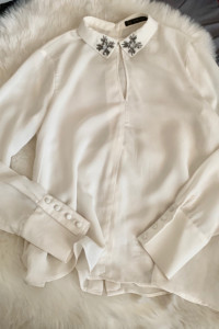 Bluzka Koszula Zara Ecru ozdobny kolnierzyk krzyze