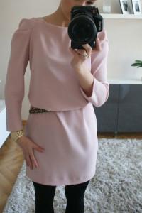 Sukienka Zara M 38 pudrowy roz...