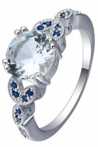 Nowy pierścionek srebrny kolor posrebrzany biała cyrkonia niebieskie retro styl