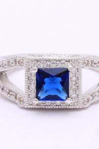 Nowy pierścionek srebrny kolor posrebrzany niebieska cyrkonia retro styl królewski