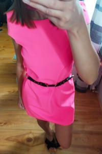 Sukienka mini neon neonowa róż asymetryczna xs