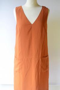 Sukienka Pomarańczowa H&M XL 42 Elegancka Prosta Kieszonki...