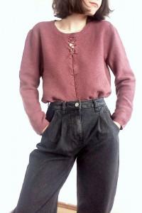 Wiosenny sweterek z wiązaniem brudny róż 90s retro vintage sweter