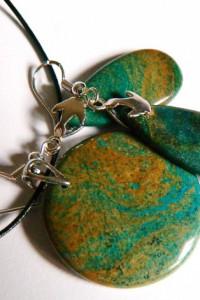Jaspis Oko Ducha unikatowa biżuteria zestaw
