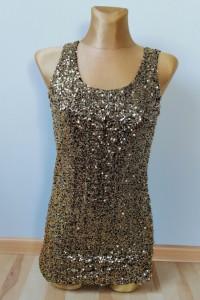 Piękna bluzka ze złotymi cekinami rozmiar S M nowa z metką