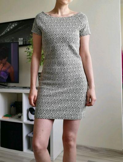 Suknie i sukienki Sukienka kremowa wzór jodełka rozmiar M Mango