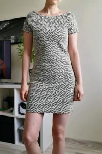 Sukienka kremowa wzór jodełka rozmiar M Mango
