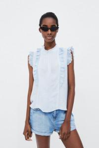 Zara Basic bluzka top z falbankami i pliskami XS