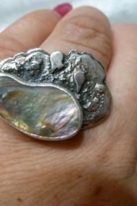 srebrny z muszlą Abalone...