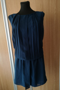 Granatowa tunika sukienka z plisami r40...