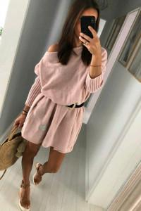Sweter sukienka dzianinowa uniwersalny rozmiar pudrowy róż