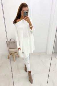 Biały sweter biała sukienka oversize uniwersalny