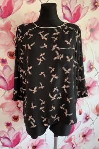 Primark bluzka luźny fason modny wzór ptaki ptaszki nowa 44...