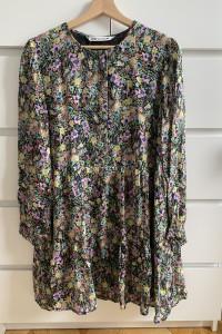 ZARA sukienka w kwiaty z falbanką M