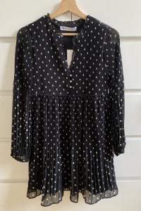 ZARA czarna sukienka w groszki XL...