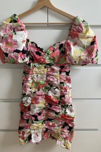 ZARA drapowana sukienka w kwiaty XL