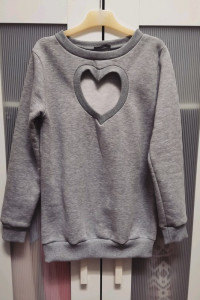 Nowa bluza dresowa szara wyciete serce S