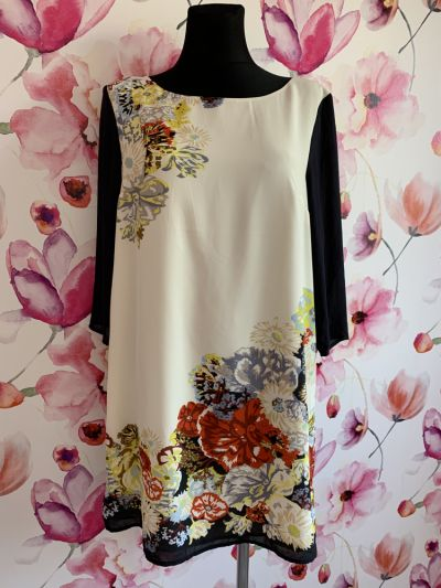 Suknie i sukienki H&m sukienka luźny fason kwiaty floral 38 40