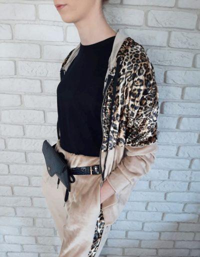 Dresy Dres Welurowy Bluza Spodnie Panterka Uni S M L