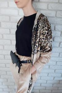Dres Welurowy Bluza Spodnie Panterka Uni S M L