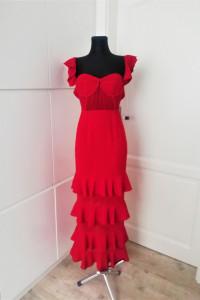 Piękna czerwona sukienka maxi dress z falbanami Pretty Little T...
