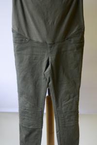 Spodnie Zielone Khaki Przeszycia H&M Mama M 38 Rurki Tregginsy