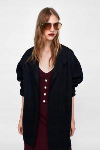 Czarny klasyczny płaszcz Zara nowy