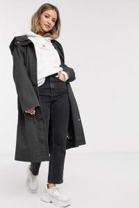 Czarny płaszcz oversize parka z kapturem bawełniany