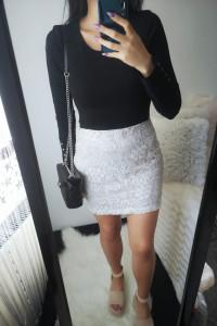 Lipsy London Spódnica damska z koronką L 40