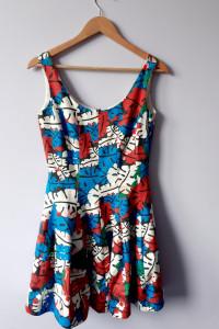 Elegancka rozkloszowana bawełniana sukienka...