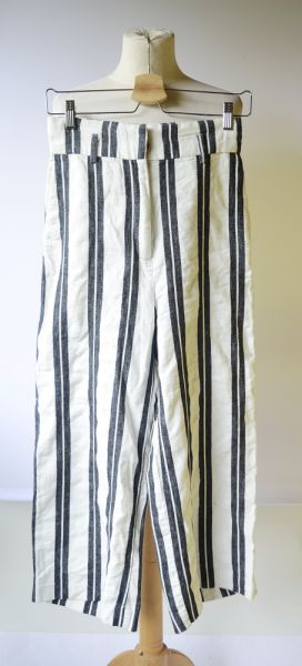 Spodnie Spodnie Pasy Białe 7 8 H&M XS 34 Proste Nogawki Spódnica